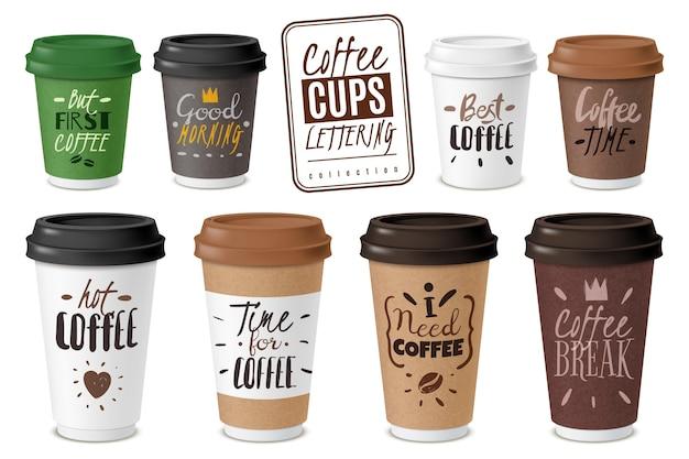 Zestaw realistycznych emblematów jednorazowych kubków do kawy