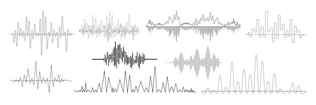 Zestaw realistycznych fal dźwiękowych. zbiór sygnałów muzycznych o różnej częstotliwości audio. ilustracja technologii cyfrowego korektora i pulsujących linii lub nagrania głosu bije makieta wibracji.
