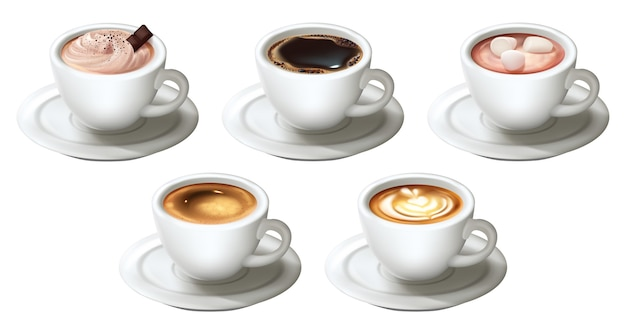 Zestaw realistycznych filiżanek do kawy na białym tle