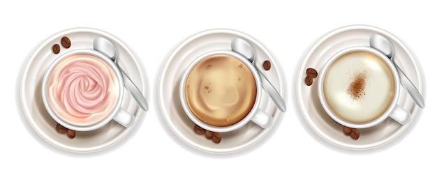 Zestaw realistycznych filiżanek kawy widok z góry