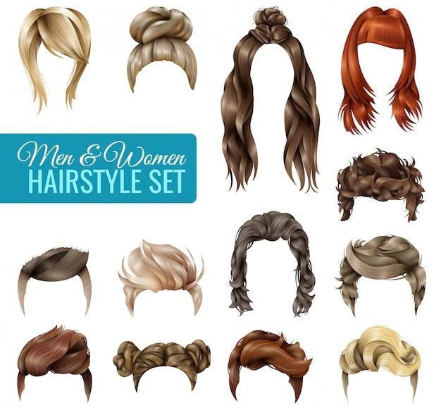 Zestaw realistycznych fryzur