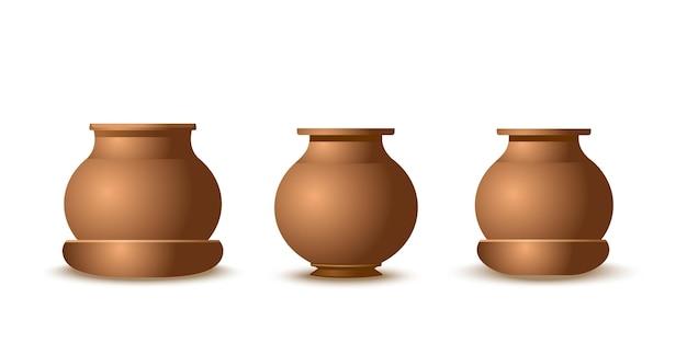 Zestaw realistycznych garnków glinianych na białym tle. naczynia fajansowe lub brązowe o różnych kształtach. doniczki ceramiczne. ilustracja wektorowa