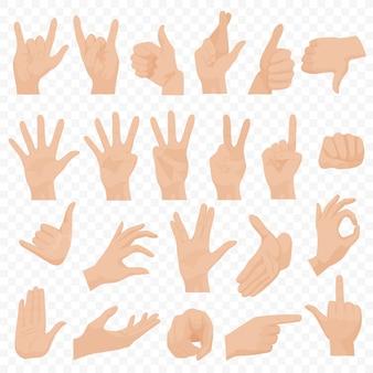 Zestaw realistycznych gestów ludzkich rąk
