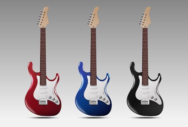 Zestaw realistycznych gitar elektrycznych.