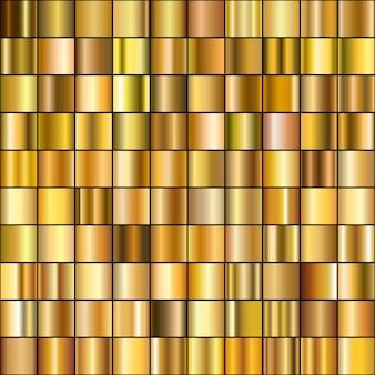 Zestaw realistycznych gradientów złota.