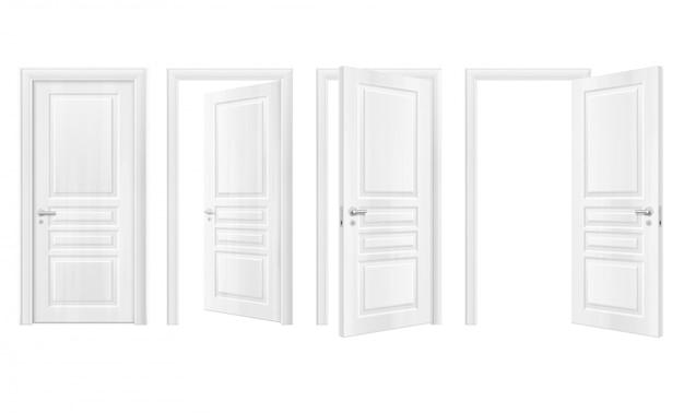 Zestaw realistycznych ikon drewniane drzwi