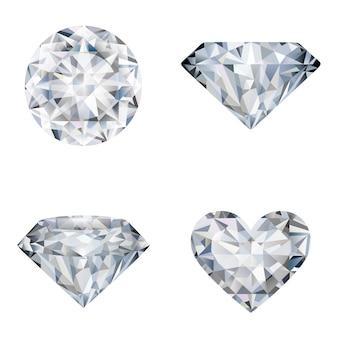 Zestaw realistycznych ilustracji diamentów