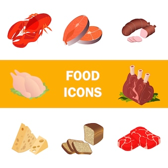 Zestaw realistycznych ilustracji mięsa, produkty morskie
