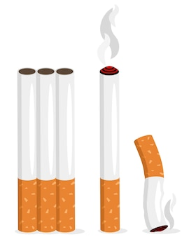 Zestaw realistycznych ilustracji papierosów