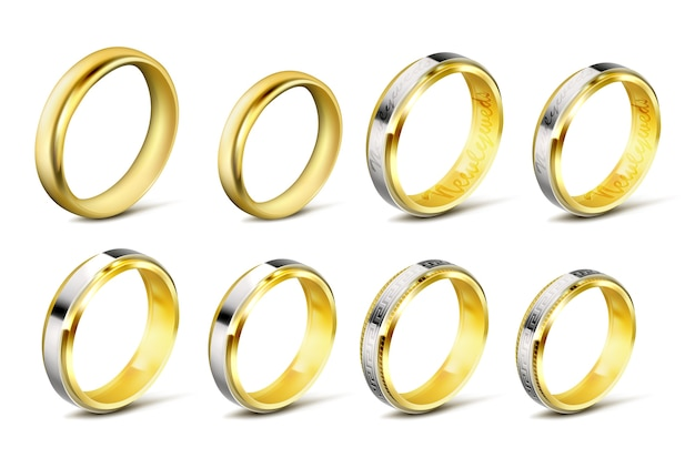 Zestaw realistycznych ilustracji wektorowych złota obrączki z cienia