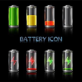Zestaw realistycznych ilustracji wskaźników poziomu baterii