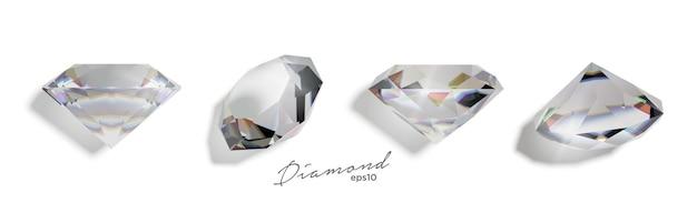 Zestaw realistycznych izoalowanych diamentów