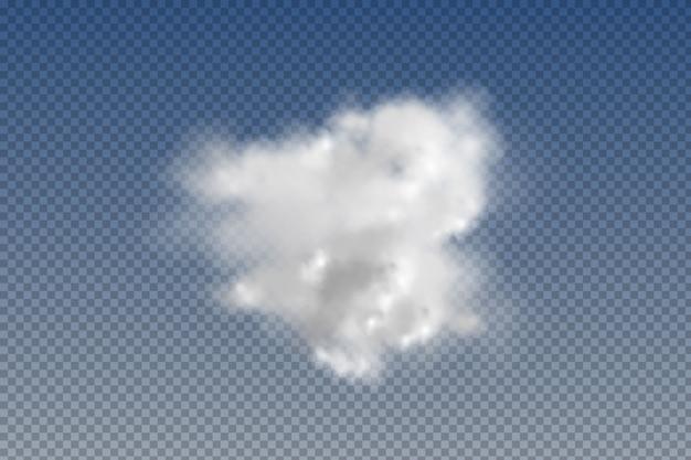 Zestaw realistycznych izolowanych i przezroczystych chmur, mgły lub dymu element graficzny. kształt projektu logo, sieci i druku.