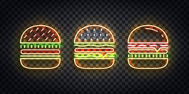 Zestaw realistycznych izolowanych neonów logo burger do dekoracji szablonu i pokrycia na przezroczystym tle. koncepcja fast food, kawiarni i restauracji.
