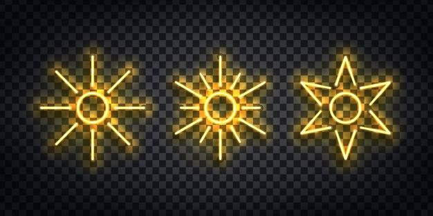 Zestaw realistycznych izolowanych neonowych znaków logo sun do dekoracji szablonu i pokrycia zaproszeń na przezroczystym tle.