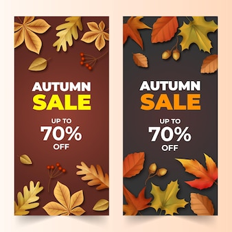Zestaw realistycznych jesiennych pionowych banerów sprzedaży
