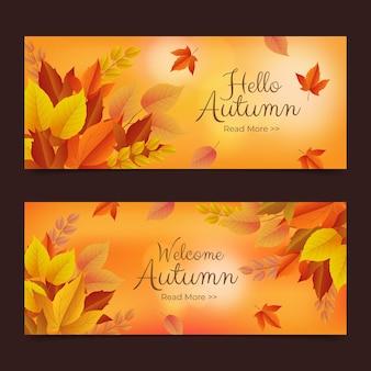Zestaw realistycznych jesiennych poziomych banerów