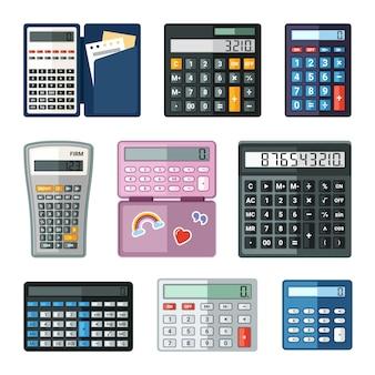Zestaw realistycznych kalkulatorów