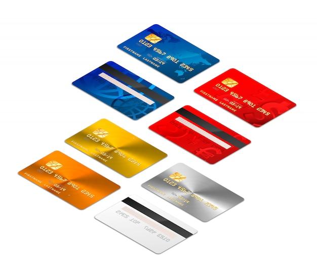 Zestaw realistycznych kart kredytowych z obu stron w rzucie izometrycznym oraz w różnych wzorach zawiera złoto i platynę na białym tle