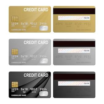 Zestaw realistycznych kart kredytowych