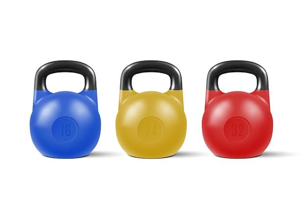 Zestaw realistycznych kettlebells na siłownię