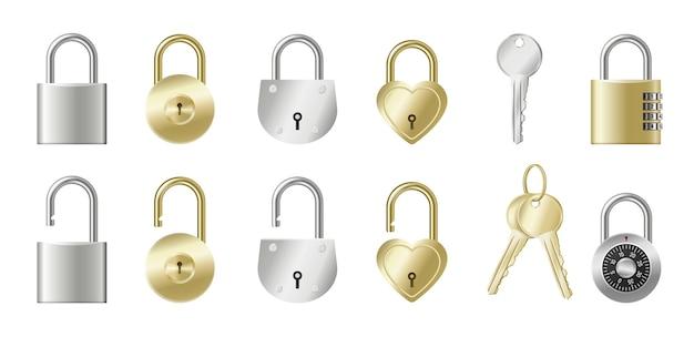 Zestaw realistycznych kłódek i kluczy złote i srebrne metalowe szafki izolowane z dziurkami od klucza, mechaniczne, na kod lub w kształcie serca.