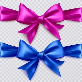 Zestaw realistycznych kokardek w kolorze różowym i niebieskim, dekoracje do projektowania na przezroczystym tle, ilustracja