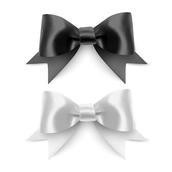 Zestaw realistycznych kokardek wstążka czarno-białych kolorów na białym tle