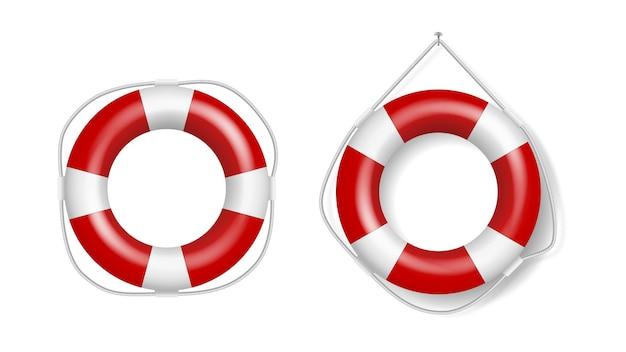 Zestaw realistycznych kół ratunkowych, kół ratunkowych w biało-czerwone paski. ratownicy ratownicy