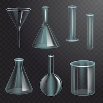 Zestaw realistycznych kolb chemicznych. przezroczysty pusty lejek, żarówka, butelka, probówka, filtr. ciemne przezroczyste tło. realistyczna ilustracja
