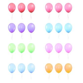 Zestaw realistycznych kolorowych błyszczących balonów helowych,