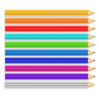 Zestaw realistycznych kolorowych ołówków. ilustracja