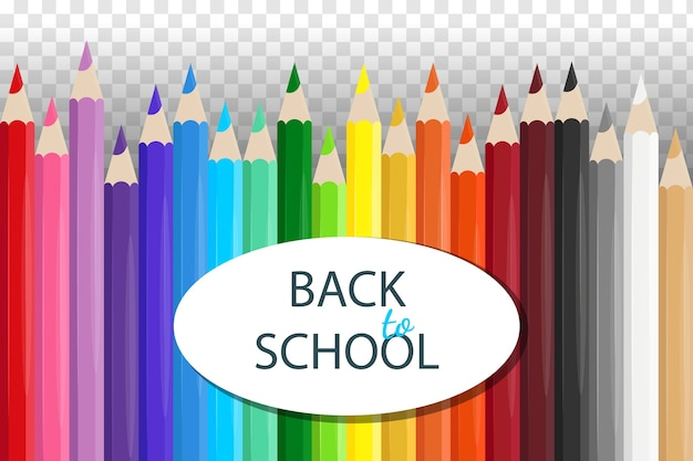 Zestaw realistycznych kolorowych ołówków szkolnych