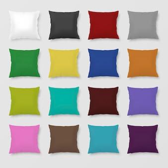Zestaw realistycznych kolorowych poduszek