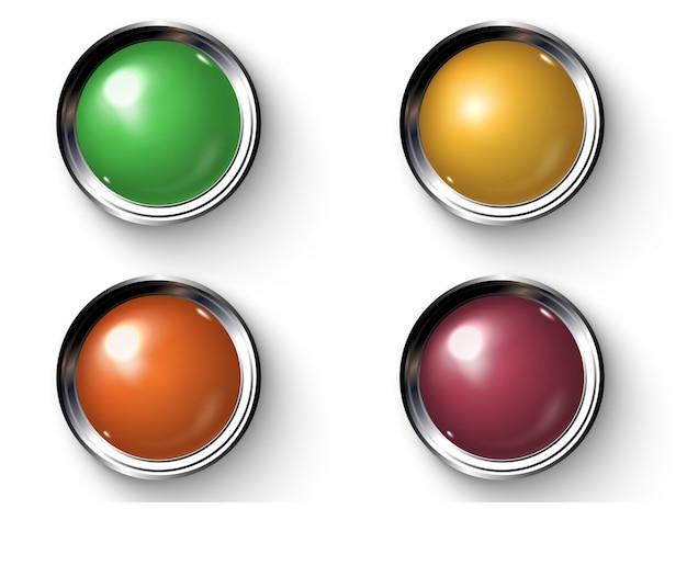 Zestaw realistycznych kolorowych przycisków z metalowymi krawędziami.