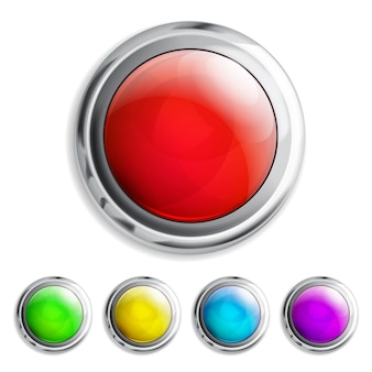 Zestaw realistycznych kolorowych przycisków z metalowymi ramkami