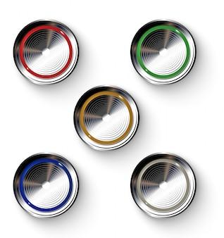 Zestaw realistycznych kolorowych przycisków