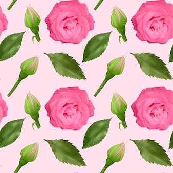 Zestaw realistycznych kolorowych róż