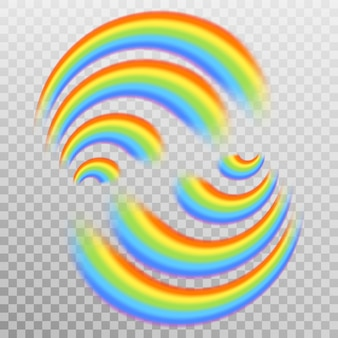 Zestaw realistycznych kolorowych tęczy. przezroczyste tło tylko w