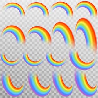 Zestaw realistycznych kolorowych tęczy.