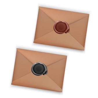 Zestaw realistycznych kopert zamkniętych kopert z woskową pieczęcią, koperta z pieczęcią na białym tle.