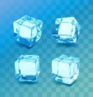 Zestaw realistycznych kostek lodu. kolekcja niebieski lód, na białym tle, odświeżanie, przezroczyste tło.