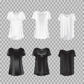 Zestaw realistycznych koszulek damskich - tuniki