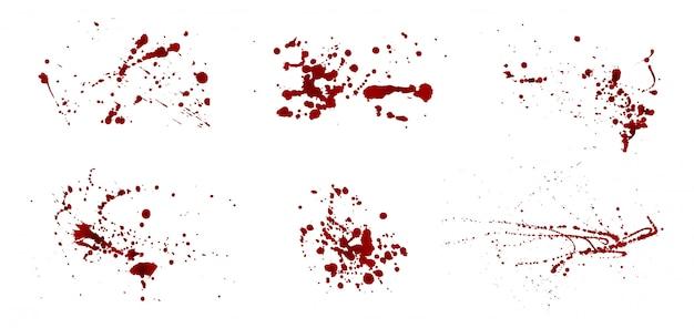 Zestaw realistycznych krwawych splatters. kropla i kropla krwi. plamy krwi. ilustracja wektorowa na białym tle.