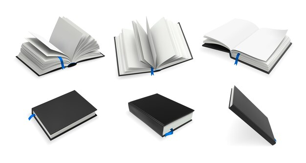 Zestaw realistycznych książek.