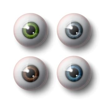 Zestaw realistycznych kulek ludzkiego oka z widokiem z przodu zieloną, niebieską, szarą, brązową tęczówkę z bliska na białym tle na szarym tle