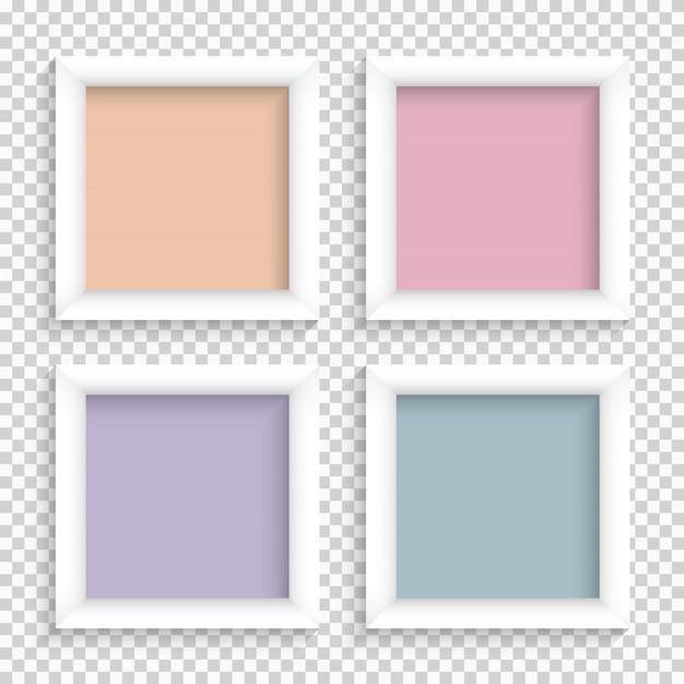 Zestaw realistycznych kwadratowych pustych ramek do zdjęć