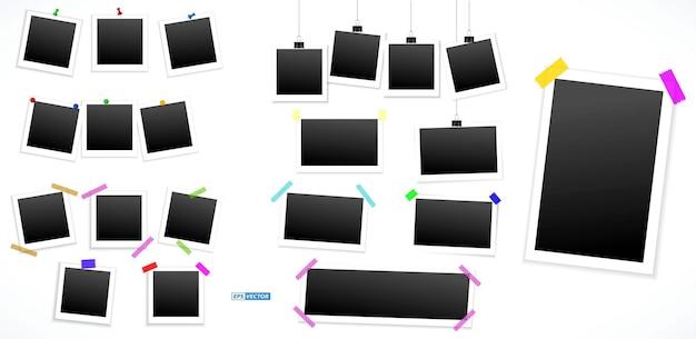 Zestaw realistycznych kwadratowych ramek do zdjęć na białym tle lub różnych ramek do zdjęć na szpilce z taśmą klejącą i nitach