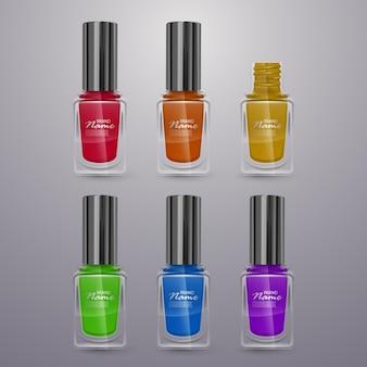Zestaw realistycznych lakierów do paznokci w jasnych kolorach, ilustracje 3d