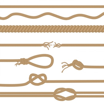 Zestaw realistycznych lin i węzłów